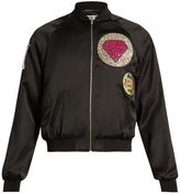 Saint Laurent Patch-appliqué satin bomber jacket