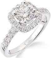 Very 18ct White Gold Claw Set 70 Point Diamond Square Set Halo Ring