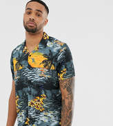 Jacamo revere collar shirt with tropical print