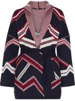 Maje Reversible Jacquard-knit Cardigan