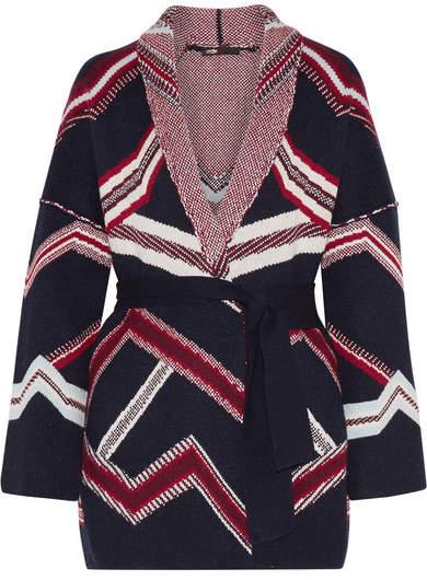 Maje Reversible Jacquard-knit Cardigan - Navy