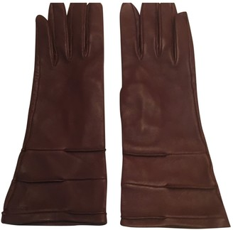 Loewe Burgundy Leather Gloves