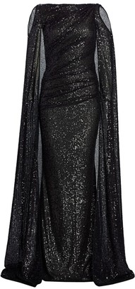 Talbot Runhof Matrix Micro Sequin Cold-Shoulder Cape Gown