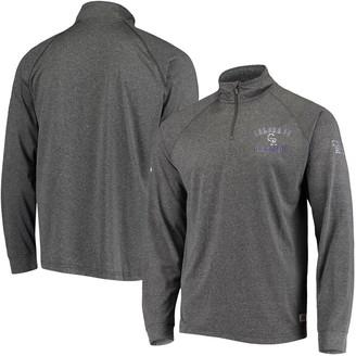 Stitches Men's Heathered Black Colorado Rockies Team Quarter-Zip Raglan Pullover Jacket