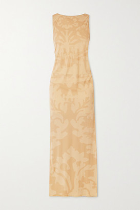 IOANNES Carrie Ruched Printed Stretch-jersey Maxi Dress - Beige