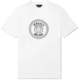 Versace Slim-Fit Logo-Flocked Cotton-Jersey T-Shirt