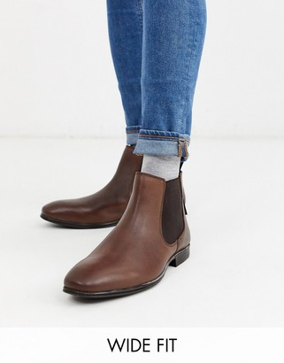 Ben Sherman wide fit leather chelsea boot in brown