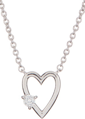 Nadri Rhodium Plated Prong Set CZ Open Heart Pendant Necklace