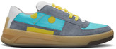Acne Studios Blue and Turquoise Perey Lace Up Sneakers