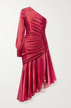 HANEY Larsa Asymmetric One-sleeve Ruched Polka-dot Silk-blend Satin Dress - Red