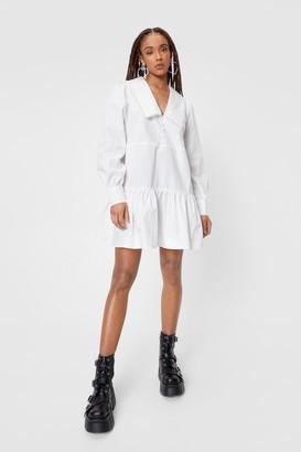 Nasty Gal Womens Oversized Collar Long Sleeve Mini Dress - White