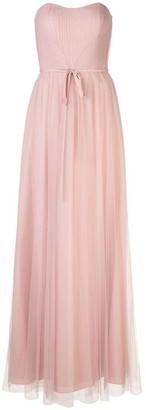 Marchesa Notte Strapless Tulle Draped Gown