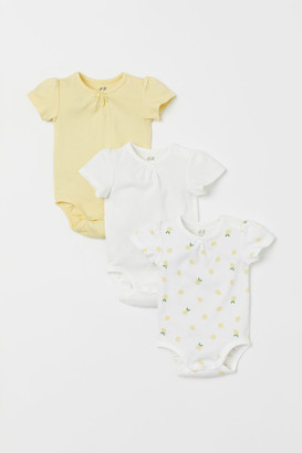 H&M 3-pack Cotton Bodysuits - Yellow