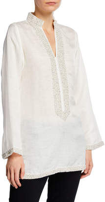 Bella Tu V-Neck Long-Sleeve Pearly Embellished Tunic