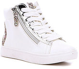 Steve Madden Girl's Peace Glitter Metallic Lace-Up Hi Top Sneaker
