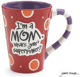 "Burton I'm A Mom, What's Your Super Power?"" 12oz Coffee Mug Great Gift for Mother"