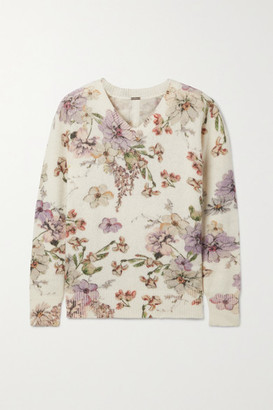 Adam Lippes Floral-print Cashmere And Silk-blend Sweater - White