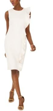 Calvin Klein Ruffled Scuba Sheath Dress