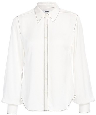 Frame 70s Contrast Stitch Puff-Sleeve Silk Shirt