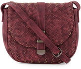Neiman Marcus Faux-Leather Woven Saddle Bag, Burgundy
