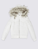 Marks and Spencer Faux Fur Zip Through Neck Jacket (3-16 Years)