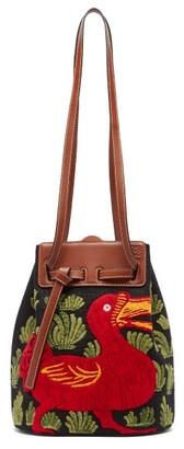 Loewe Lazo Dodo-embroidered Canvas Bucket Bag - Womens - Black Multi