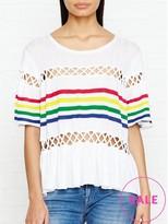 Wildfox Couture South Beach Stripe Crochet Detail Top