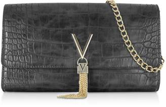 Mario Valentino Valentino By Audrey Croco Embossed Eco Leather Clutch