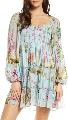 HEMANT AND NANDITA Floral & Metallic Rainbow Stripe Long Sleeve Cover-Up Dress