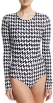 Cover UPF 50 Long-Sleeve Houndstooth-Print Swimsuit