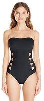 Carmen Marc Valvo Women's Lattice Solid Cut Out Bandeau One Piece Swimsuit