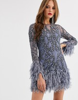 Asos Edition EDITION crystal embellished mini dress with faux feather hem