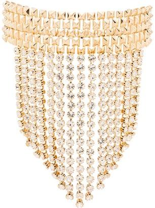 Alessandra Rich Studded Crystal Fringe Choker