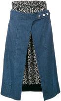Creatures of the Wind denim and print skirt - women - Cotton/Silk - 0