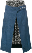 Creatures of the Wind denim and print skirt - women - Silk/Cotton - 0