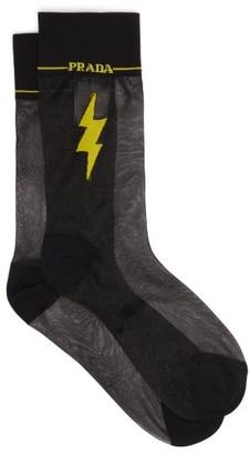 Prada Flash Intarsia-motif Sheer Socks - Womens - Black