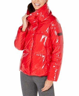 Calvin Klein Women's Quilted Polyfilled Puffer Jacket with Oversized Collar