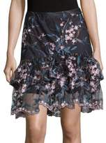 Nanette Lepore Floral Embroidered Tiered Skirt