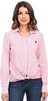 U.S. Polo Assn. Juniors' Classic Button-Front Poplin Striped Woven Shirt