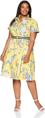 Donna Morgan Women's Plus Size Printed Midi-Length Shirt Dress