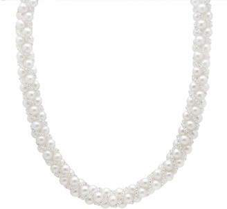 Splendid Pearls White 7-7.5mm Freshwater Pearl & Clear Bead Woven Necklace