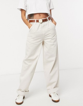 ASOS DESIGN slouchy chino pants in cream