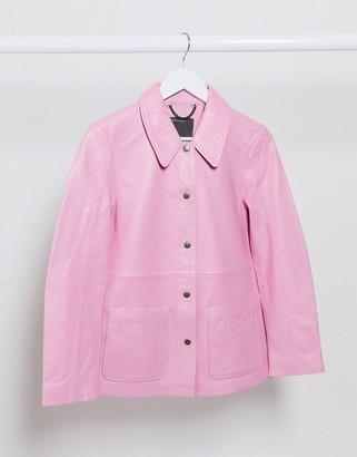 Muu Baa Muubaa leather shacket in pink