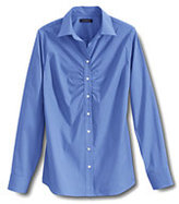 Lands' End Women's Regular Long Sleeve Ruched Front Stretch Shirt-Soapstone