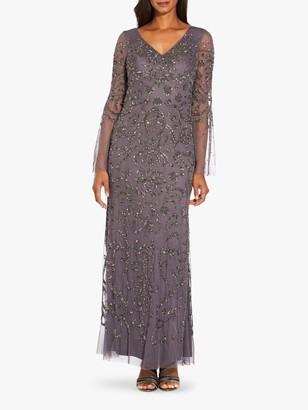 Adrianna Papell Beaded Mesh Maxi Dress, Grey