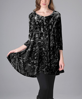 Aster Black Abstract Crushed Velvet Tunic - Plus Too