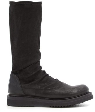 Rick Owens Stretch-suede And Leather Mid-calf Boots - Black