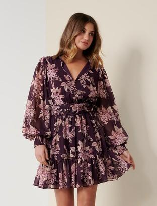 Forever New Remy Belted Skater Dress - Plum Floating Blossom - 16