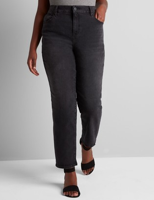 Lane Bryant Signature Fit High-Rise Girlfriend Straight Jean - Faded Black