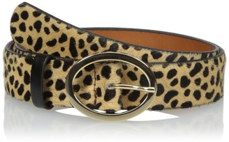 Circa Leathergoods Circa Womens Leopard Printed Haircalf Belt with Oval Buckle XS